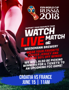 World Cup Watch Party: Finals Croatia v. France @ Wiedemann Brewery & Taproom